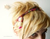 NEW COLLECTION headband and necklace two-in-one multicolor fuchsia pink and pastels