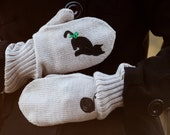 Black Cat Beige Knitted Wool Mittens for Winter Gift for Pet Lover Women Accessories europeanstreetteam animal mittens