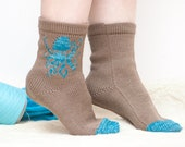 Women's socks with Octopus wool knitted blue turquoise brown accessories winter europeanstreetteam gift for her
