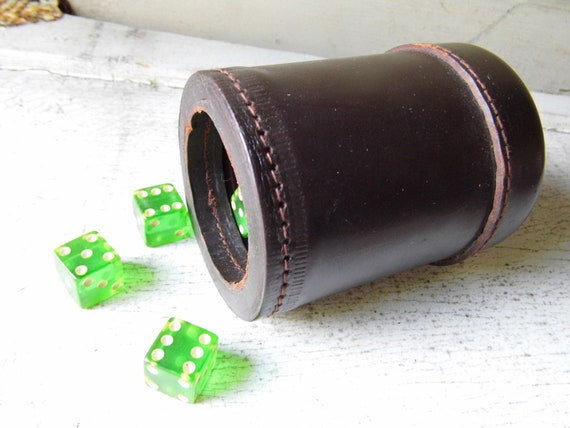 Leather Dice Cup, Stitched, Made in Japan, Mid-Century Fun and Games from All Vintage Man