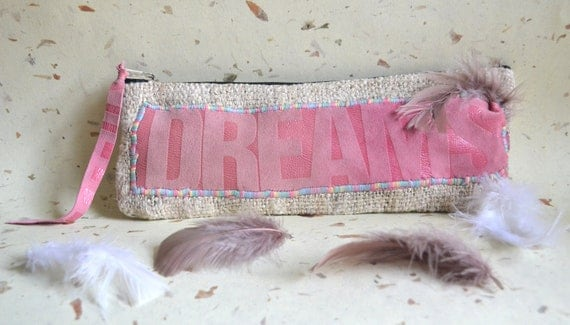 Hemp Large pencil case, pink leather make up pouch with a feather, DREAMS