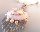 bridal necklace flowers necklace wedding jewelry statement necklace white chain cristal pearls