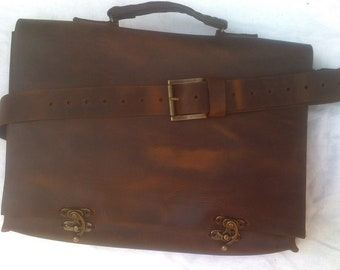 Leather Briefcase Bag/Top Handle Leather Bag/Practical Leather Bag/Rustic Messenger Bag/Sturdy Laptop Bag