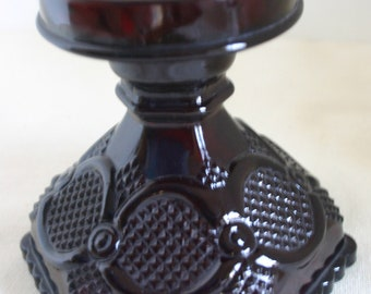 Avon Ruby Red Glass Hurricane Lamp Base Candleholder