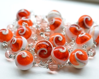 Long Orange Beaded Necklace / Long Shell and Czech Glass Necklace 39.5 inches, Spiral Conch Shell Necklace