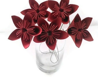SET of 5 with Free Domestic U.S. Ship - Rocking Red Kusudama Paper Origami Flower