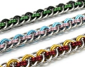 Custom Braided Chainmail Bracelet - Double Color Metal Chainmaille Bracelet for Men Women