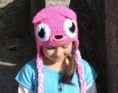 Pink Monster Hat, Crochet Baby Hat, Animal Hat, photo prop, Inspired by Moshi Monsters  - Baby, Toddler, Child