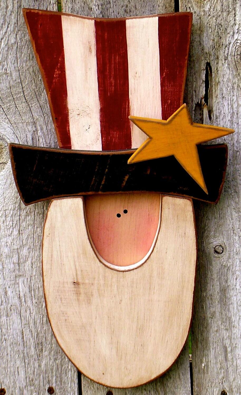 Primitive Americana Uncle Sam With Patriotic Star Antiqued