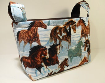Fabric Storage Basket Bin Organizer Storage Container-Horses with Solid Brown Interior