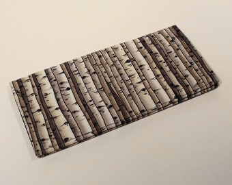 Fabric Checkbook Cover-Birch Trees with Black Interior