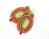 Soutache Earrings, Hand Embroidered Green Red Yellow Earrings Soutache, Soutache Jewelry, sterling silver