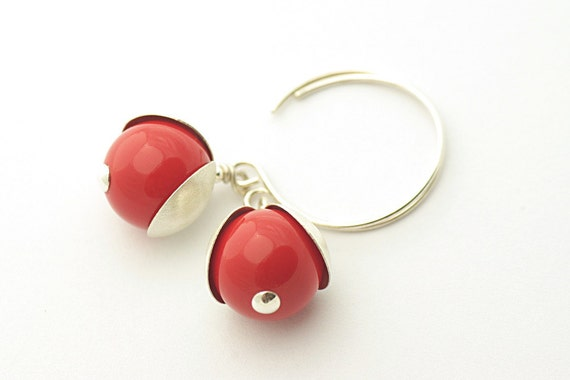Red Coral Earrings, Autumn color, Swarovski Red Coral, Pearl Earrings, , sterling silver 925