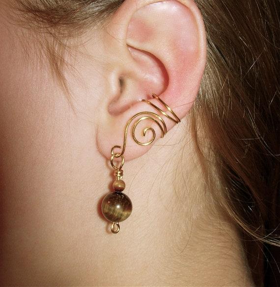 Ear Cuffs, Pair of Gold tone Ear Cuffs with Genuine Tiger Eye Beads, non pierced