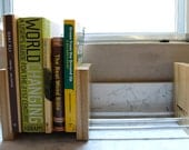 Adjustable Wood and Aluminum Bookends, Modern Mid Century Inspired with Locally salvaged Oak