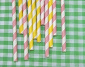 Paper Straw 50 Mix of Light Pink and Yellow for Pink Lemonade