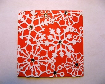 NOW 1/2 OFF - Greeting Card With Envelope - Snowflake and Gem Design- Red Card with White Overlay -  Blank Inside - Handmade