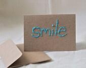 "Kraft Turquoise Blue Simple Mini Blank Notecard Eco (2 1/2 x 3 1/2) ""smile"""