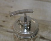 Soap Dispenser-Mason Jar--Pint Mason Jar with Metal Lid and Rainbow Style Chrome Metal Pump