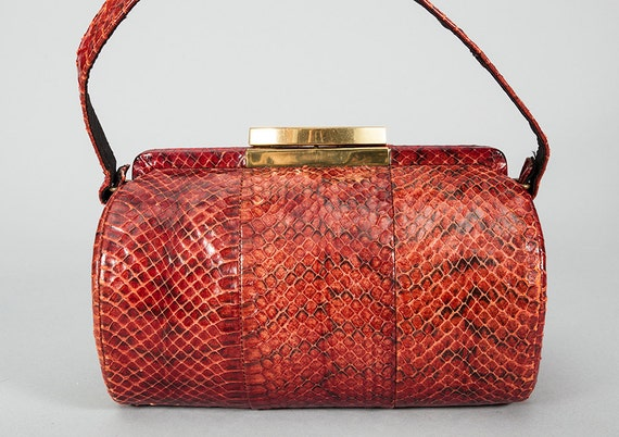 Fabulous Vintage 1940s 1950s Python Snake Skin Structured Barrel Shaped Handbag