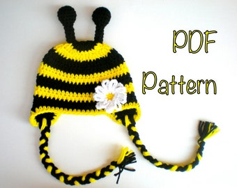 PATTERN:  Bumble Bee, Easy Crochet PDF, Newborn to Adult, InStaNT DownLOaD, beanie, Permission to Sell