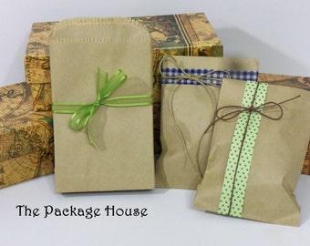 """50 Mini Kraft Bags, Brown Bag Kraft,  3.50"""" x 5.25"""",  Flat Paper Merchandise Bags, Treat Bag, Favor Bag, Wedding Favor Bag, Kraft Gift Bag"""