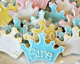 Crown Tiara Cookies Princess Prince Theme Birthday Cookies Baby Shower Cookie Favors One Dozen