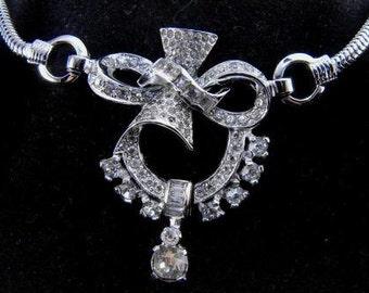 Exquisite Mazer Necklace Retro Deco Style Pave Set Brilliants Silver Rhodium Base