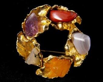 Vintage Brooch Semi Precious Gemstones Signed EURO