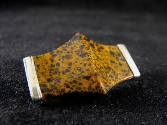 RESERVED LISTING: Vintage Brooch Mustard Seed Agate Natural Stone Vermeil 25.00 obo