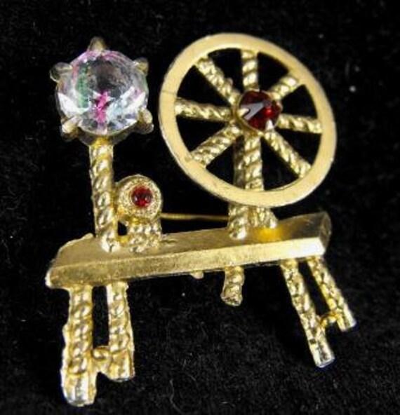 RESERVED: Spinning Wheel Figural Pin Gablonz Czech Iris Glass Rhinestone Old Piece