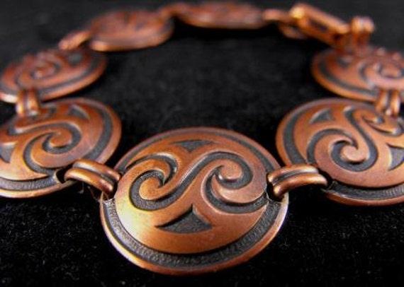 Vintage Trading Post Bracelet Copper Disc Sacred Wave Design 15.00 obo
