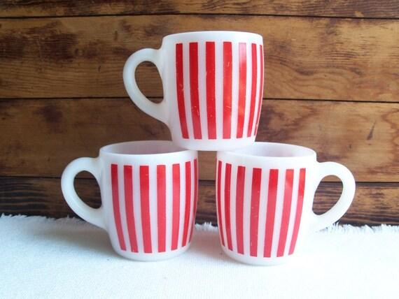 Hazel Atlas Candy Stripe Mug, Vintage 1950s
