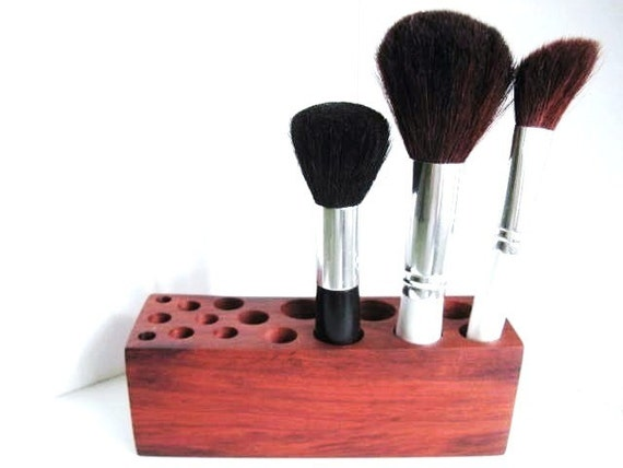 Makeup Brush Holder Exotic Redheart Wood Industrial Design