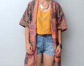 Vintage tribal boho short sleeve blazer in earth tones // coat // jacket