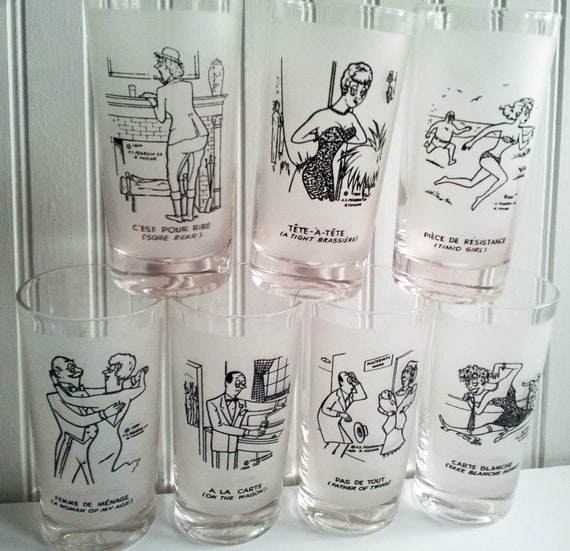 Vintage Libbey Barware Character Drinking Glasses Seven