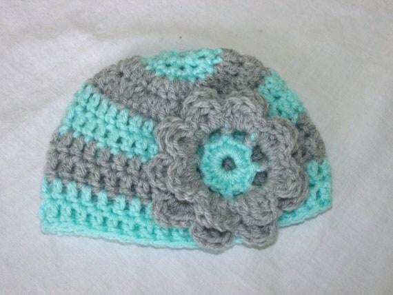 Newborn Baby Girl Striped Crochet Flower Hat Aqua and Grey