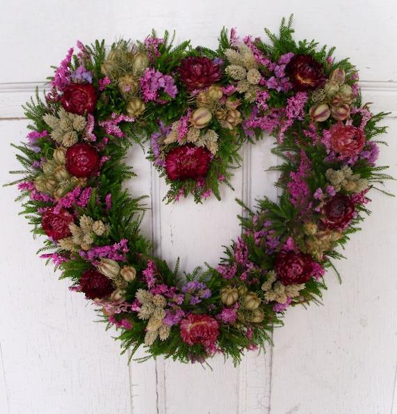 Heart dried flower wreath