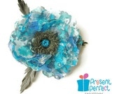 Silk poppy brooch, fantasy flower, blue fabric flower