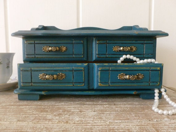 Jewelry Box Painted in Distressed Teal