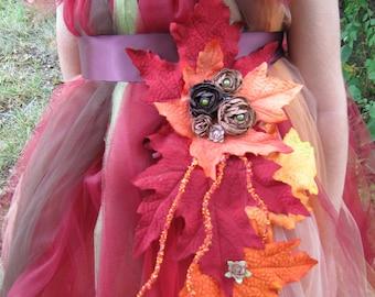 Leaf embelished fall sash