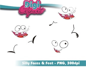 Set of Funny Facial Expressions Features Clip Art
