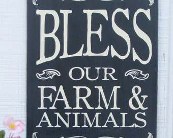 Bless our Farm and Animals Hand Screened Wood Sign