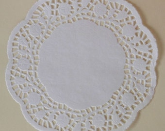 10 White Paper Doilies, Scalloped Rose Design, 8 inch