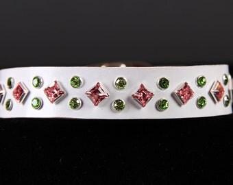 White Leather Dog Collar w Swarovski Crystals