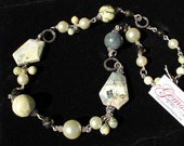 Yellow Turquoise, Czech Glass, Glass Pearls, Silver-plated, Necklace