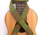 Ukulele Strap in Green Summer Stripe, Breathable and Adjustable with Brown Suede Ends