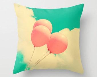 Pillow cover, coral pillow, pink pillow, balloon, turquoise pillow, nursery decor, spring decor, nursery art, love pillow,beach pillow