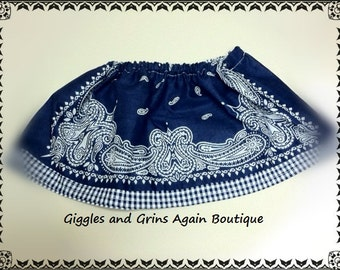 Navy and White Gingham Bandana Skirt for all the Little Cowgirls - Custom Fabrics Available