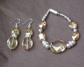 Earrings-Orange beaded earrings - Honey Luster crystal earrings - Orange beaded jewelry-Special occasion sparkle